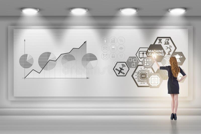 Η επιχειρηματίας στην έννοια εκμάθησης μηχανών στοκ εικόνες
