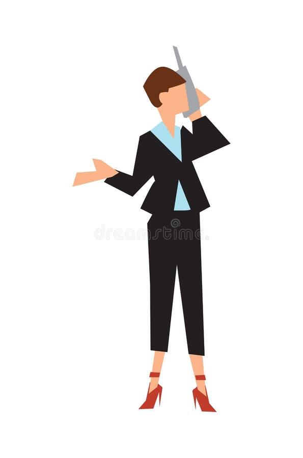 Η επιχειρηματίας στο επιχειρησιακό κοστούμι μιλά το τηλέφωνο διανυσματική απεικόνιση