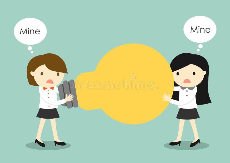 Η επιχειρησιακή έννοια, δύο επιχειρησιακές γυναίκες είναι πάλη για μια ιδέα διανυσματική απεικόνιση