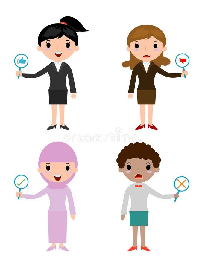 Η επιχειρησιακή γυναίκα έχει ένα πιάτο του σημαδιού για να απαντήσει στο σωστό ή ανακριβή, αντίχειρα χεριών επιχειρηματιών επάνω  απεικόνιση αποθεμάτων