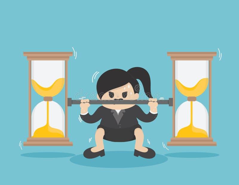 Η επιχειρησιακή γυναίκα ανυψώνει το νόμισμα πολύ βαρύ, πάλη ενάντια στο χρόνο απεικόνιση αποθεμάτων