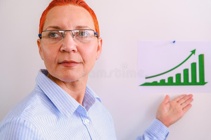 Η επιχειρησιακή γυναίκα διευθύνει την επιχειρησιακή κατάρτιση Επιχειρηματίες που έχουν στην παρουσίαση στο γραφείο Επιχειρηματίας στοκ φωτογραφία