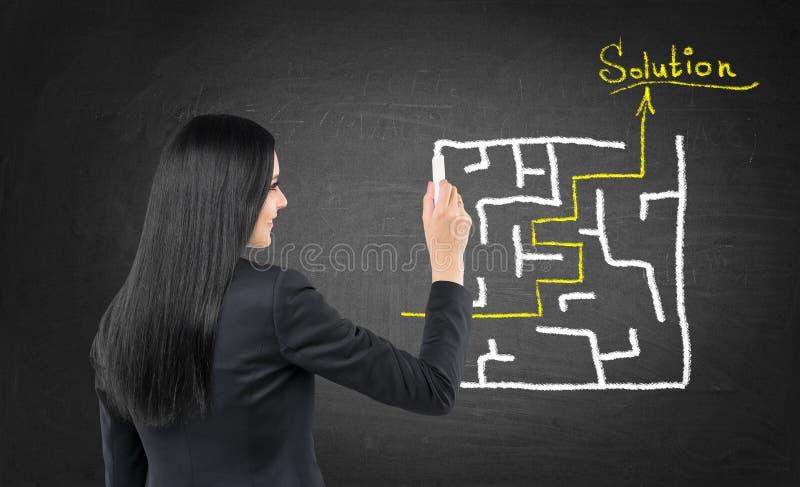 Η επιχειρησιακή γυναίκα επισύρει την προσοχή έναν λαβύρινθο με τη λύση στον πίνακα κιμωλίας στοκ εικόνες