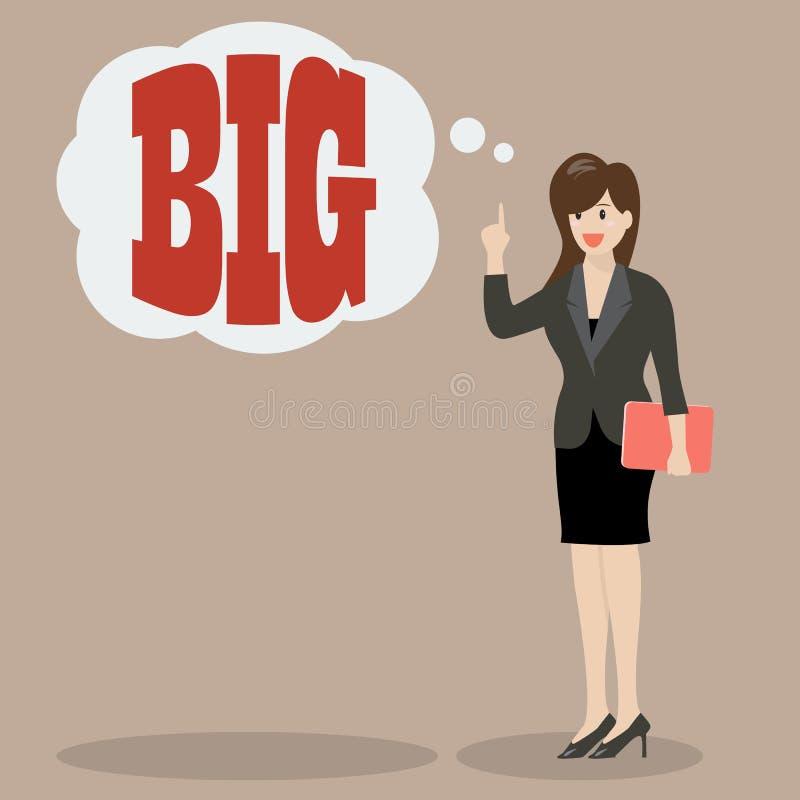 Η επιχειρησιακή γυναίκα θεωρεί μεγάλη απεικόνιση αποθεμάτων