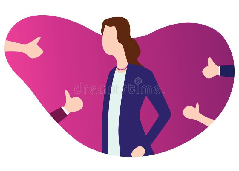 Η επιχειρησιακή γυναίκα παίρνει το σεβασμό και τους αντίχειρες επάνω από άλλο διανυσματική απεικόνιση