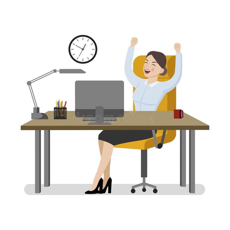Η επιχειρησιακή γυναίκα σε ένα επιχειρησιακό κοστούμι χαίρεται για τον εργασιακό χώρο της απεικόνιση αποθεμάτων