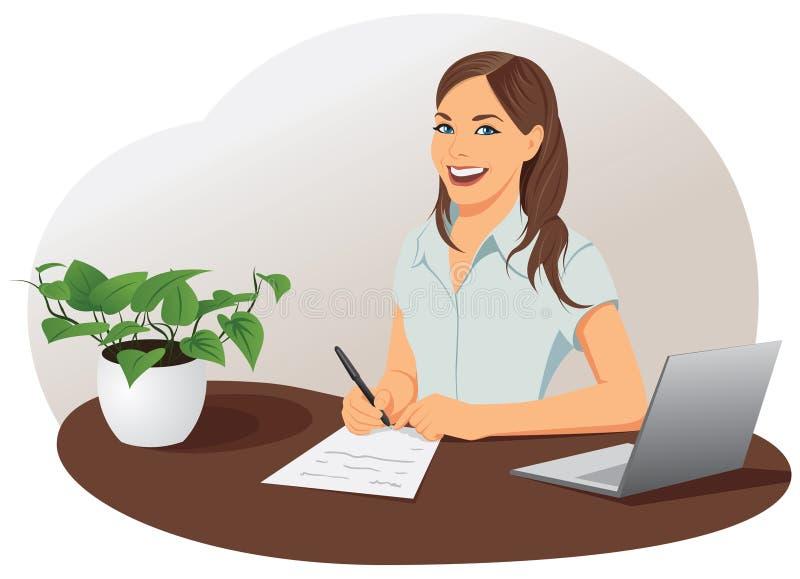 Η επιχειρησιακή γυναίκα υπογράφει το έγγραφο ελεύθερη απεικόνιση δικαιώματος