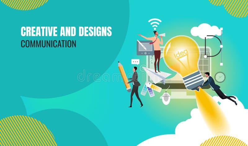 Η επιχειρησιακή δημιουργική ομαδική εργασία στην εύρεση των νέων ιδεών, μικροί άνθρωποι προωθεί έναν μηχανισμό διανυσματική απεικόνιση