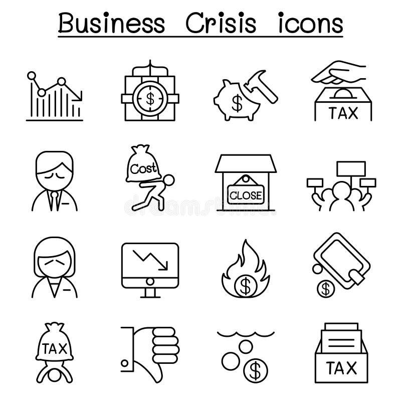 Η επιχειρησιακή κρίση, χρέος, κόστος, φορολογικό εικονίδιο έθεσε στο λεπτό ύφος γραμμών απεικόνιση αποθεμάτων