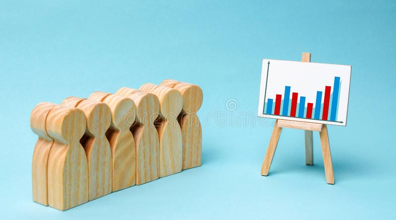 Η επιχειρησιακή ομάδα εξετάζει τις στατιστικές και το σχέδιο ανάπτυξης της επιχείρησης Έννοια της επιχειρησιακής στρατηγικής Ανάλ στοκ εικόνα με δικαίωμα ελεύθερης χρήσης