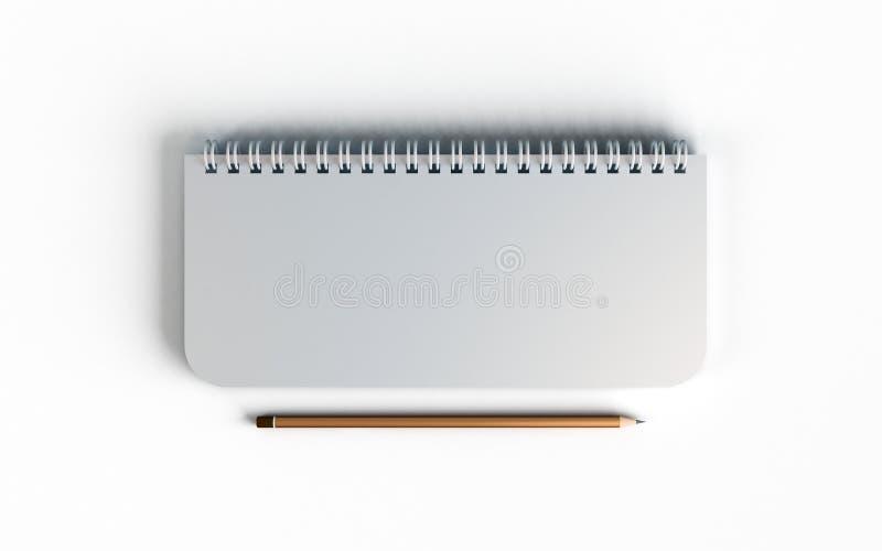 Η επιχειρησιακή πλαστή επάνω τοπ άποψη του κλειστού σπειροειδούς κενού ανακύκλωσε το σημειωματάριο κάλυψης εγγράφου με το μολύβι  ελεύθερη απεικόνιση δικαιώματος