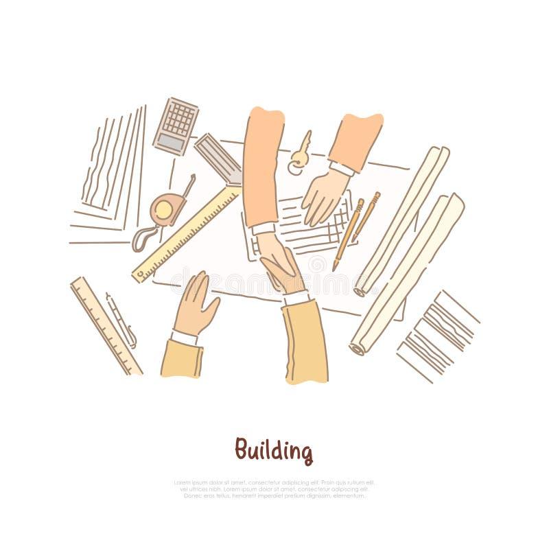 Η επιχειρησιακή συνεδρίαση, η διαπραγμάτευση, το σχέδιο οικοδόμησης που σχεδιάζουν, ο αρχιτέκτονας και ο ανάδοχος ασχολούνται, έμ διανυσματική απεικόνιση