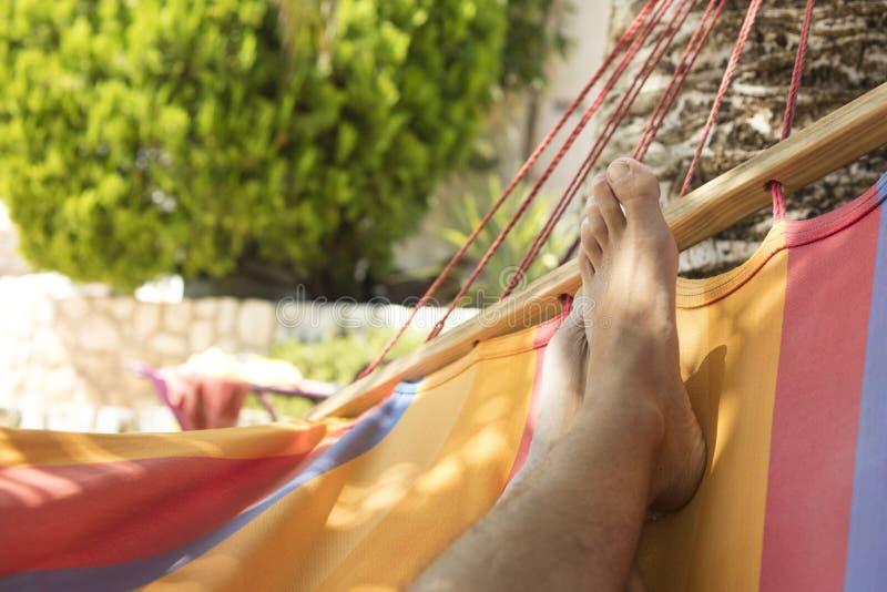 Η λεπτομέρεια της αιώρας και των ποδιών υπαίθρια, από τη βλάστηση επάνω στοκ φωτογραφία με δικαίωμα ελεύθερης χρήσης
