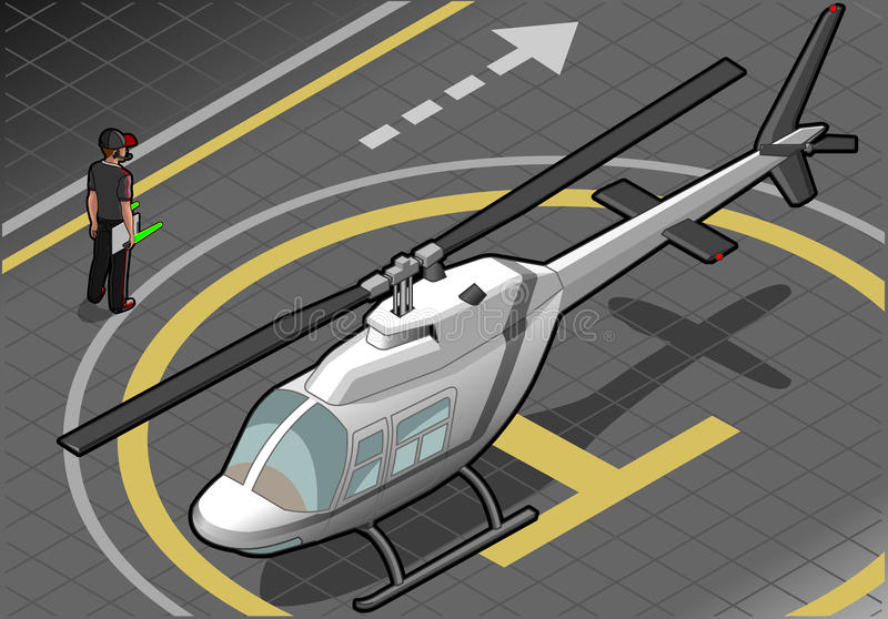 Isometric άσπρο ελικόπτερο που προσγειώνεται κατά την μπροστινή άποψη ελεύθερη απεικόνιση δικαιώματος