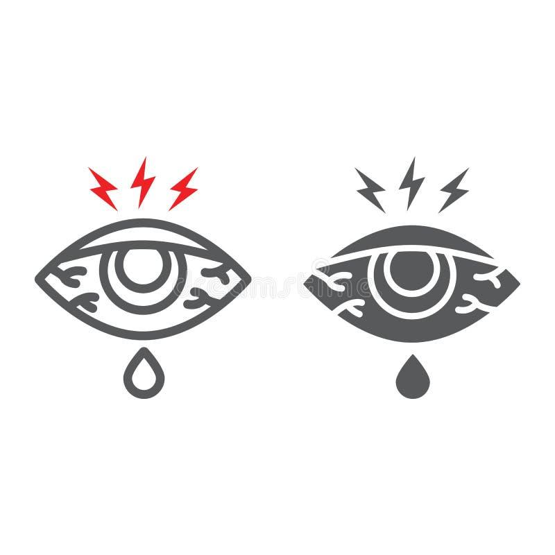 Η επώδυνα γραμμή ματιών και glyph το εικονίδιο, σώμα και τραυματίζουν, σημάδι ερυθρότητας ματιών, διανυσματική γραφική παράσταση, απεικόνιση αποθεμάτων
