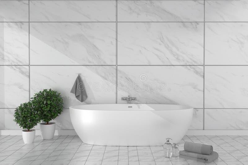 Η εσωτερική μπανιέρα λουτρών στο πάτωμα κεραμικών κεραμιδιών στο γρανίτη κεραμώνει το υπόβαθρο τοίχων - κενή άσπρη έννοια η τρισδ απεικόνιση αποθεμάτων