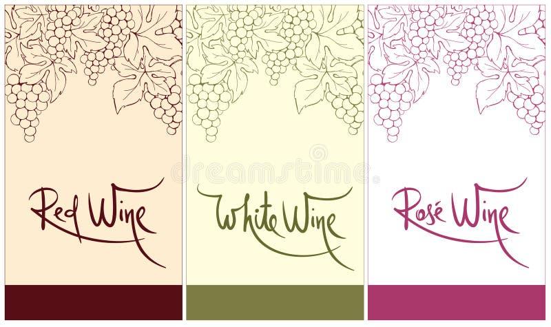 Η ετικέτα για το κόκκινο, λευκό και αυξήθηκε κρασί απεικόνιση αποθεμάτων
