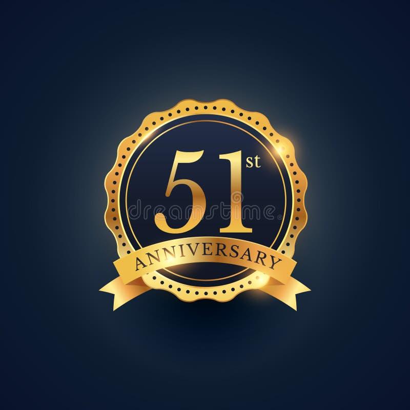 51$η ετικέτα διακριτικών εορτασμού επετείου στο χρυσό χρώμα διανυσματική απεικόνιση