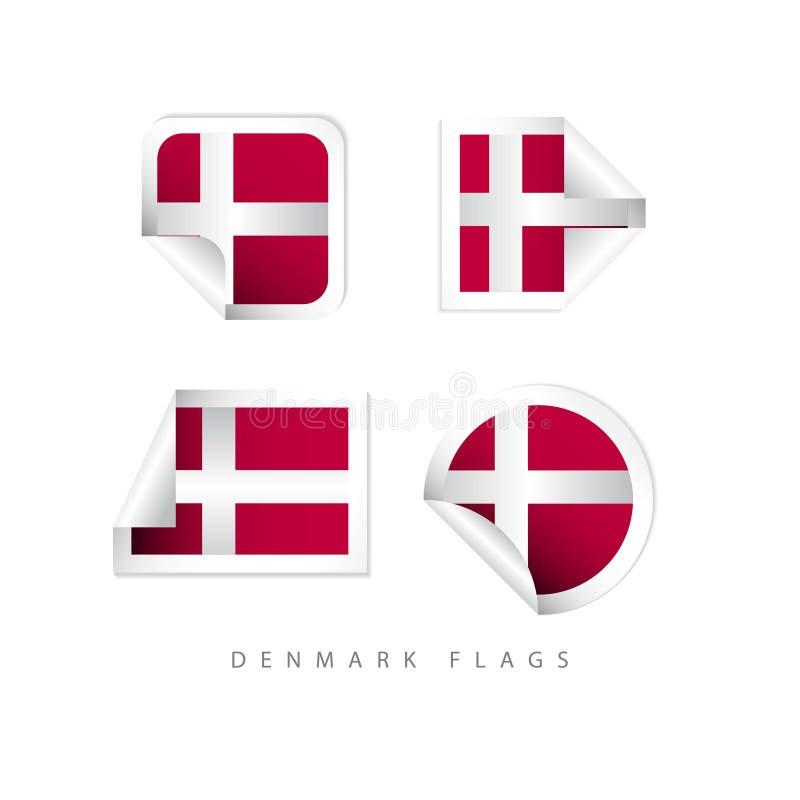 Η ετικέτα της Δανίας σημαιοστολίζει το διανυσματικό σχέδιο προτύπων ελεύθερη απεικόνιση δικαιώματος