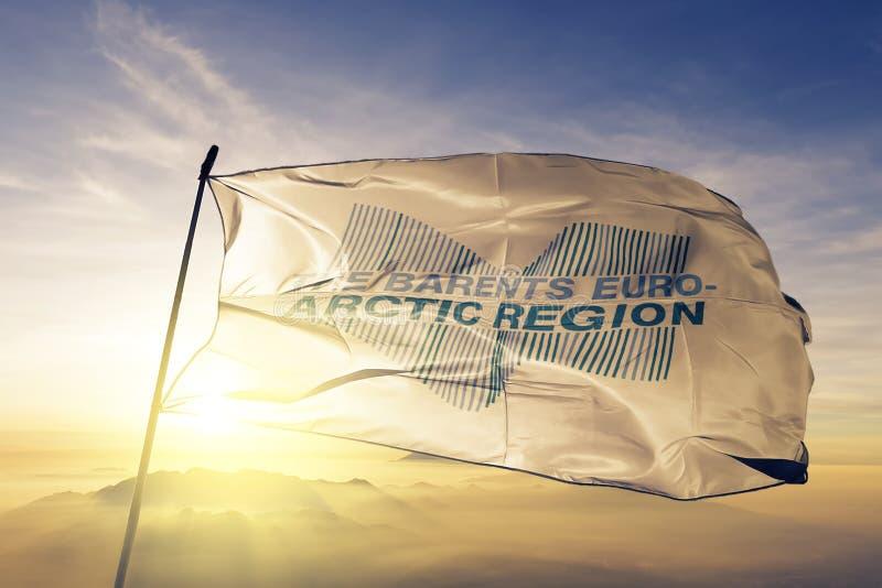 Η ευρω-αρκτική περιοχή Barents ΑΦΟΡΑ το υφαντικό ύφασμα υφασμάτων σημαιών που κυματίζει τη τοπ ομίχλη υδρονέφωσης ανατολής διανυσματική απεικόνιση