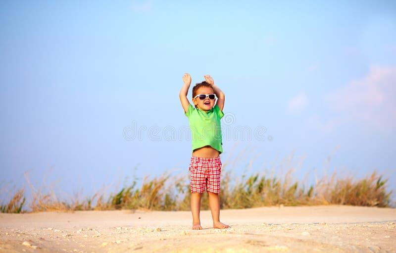 Η ευτυχής αύξηση παιδιών παραδίδει την απόλαυση, καλοκαίρι στοκ φωτογραφία