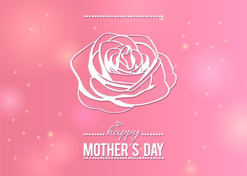 Η ευτυχής ευχετήρια κάρτα ημέρας μητέρων ` s με την περίληψη αυξήθηκε στο ρόδινο υπόβαθρο ομορφιάς ελεύθερη απεικόνιση δικαιώματος