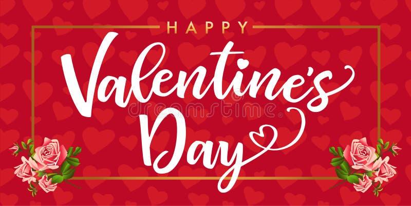 Η ευτυχής ημέρα βαλεντίνων, αυξήθηκε κόκκινο λουλουδιών και κομψό καρτών καρδιών απεικόνιση αποθεμάτων