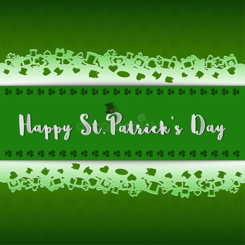 Η ευτυχής ημέρα StPatrick ` s, σχέδιο με την εγγραφή στα πράσινα τριφύλλια του υποβάθρου, έγγραφο αποκόπτει το ύφος απεικόνιση αποθεμάτων