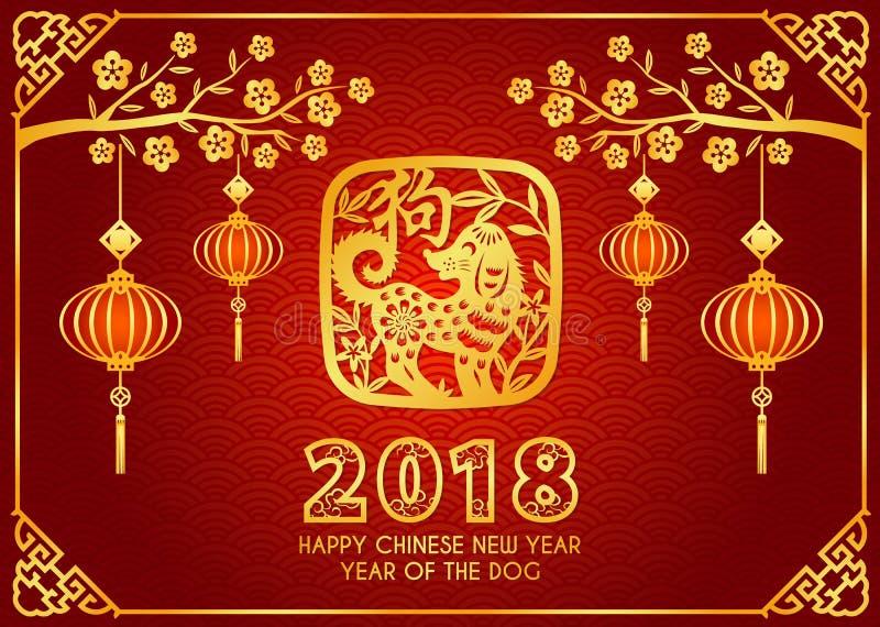 Η ευτυχής κινεζική νέα κάρτα έτους 2018 είναι φανάρια κρεμά στους κλάδους, σκυλί περικοπών εγγράφου στο διανυσματικό σχέδιο πλαισ