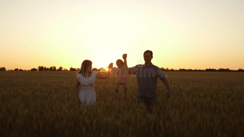 Η ευτυχής κόρη με το mom της και ο μπαμπάς περπατούν πέρα από τον τομέα του ώριμου σίτου, το μωρό τσαλακώνει Ένα νήπιο με στοκ φωτογραφίες