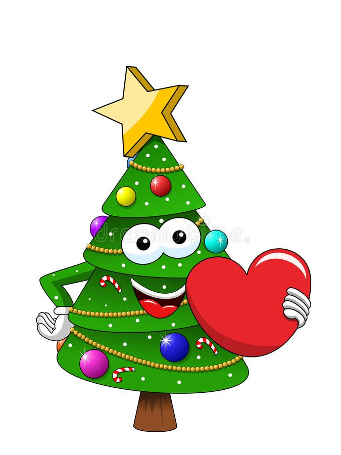 Η ευτυχής μασκότ χαρακτήρα Χριστουγέννων ή Χριστουγέννων αγαπά την καρδιά που απομονώνεται στο λευκό στο διανυσματικό Ιστό απεικό απεικόνιση αποθεμάτων