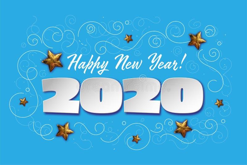 Η ευτυχής νέα έννοια έτους του 2020 με το έγγραφο έκοψε την επίδραση και τα τρισδιάστατα ρεαλιστικά χρυσά αστέρια Διανυσματικό σχ ελεύθερη απεικόνιση δικαιώματος