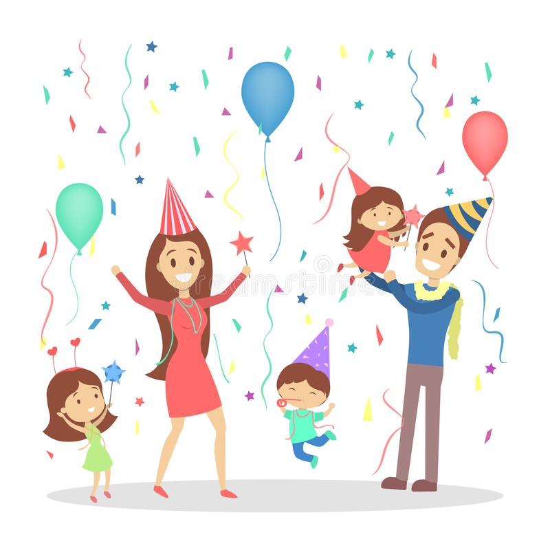 Η ευτυχής οικογένεια έχει ένα κόμμα απεικόνιση αποθεμάτων