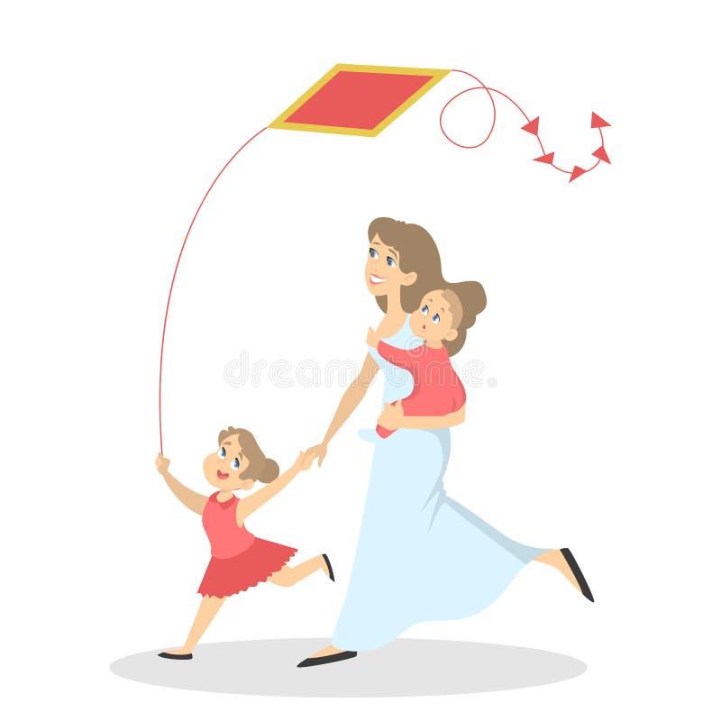 Η ευτυχής οικογένεια έχει τη διασκέδαση με έναν ικτίνο διανυσματική απεικόνιση