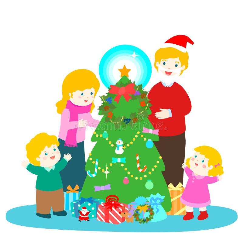 Η ευτυχής οικογένεια διακοσμεί την απεικόνιση τέχνης χριστουγεννιάτικων δέντρων απεικόνιση αποθεμάτων
