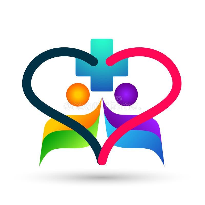 Η ευτυχής οικογένεια στην καρδιά διαμόρφωσε την ιατρική υγιή αγάπη παιδιών γονέων λογότυπων ζωής διαγώνια, προσοχή, διάνυσμα σχεδ διανυσματική απεικόνιση