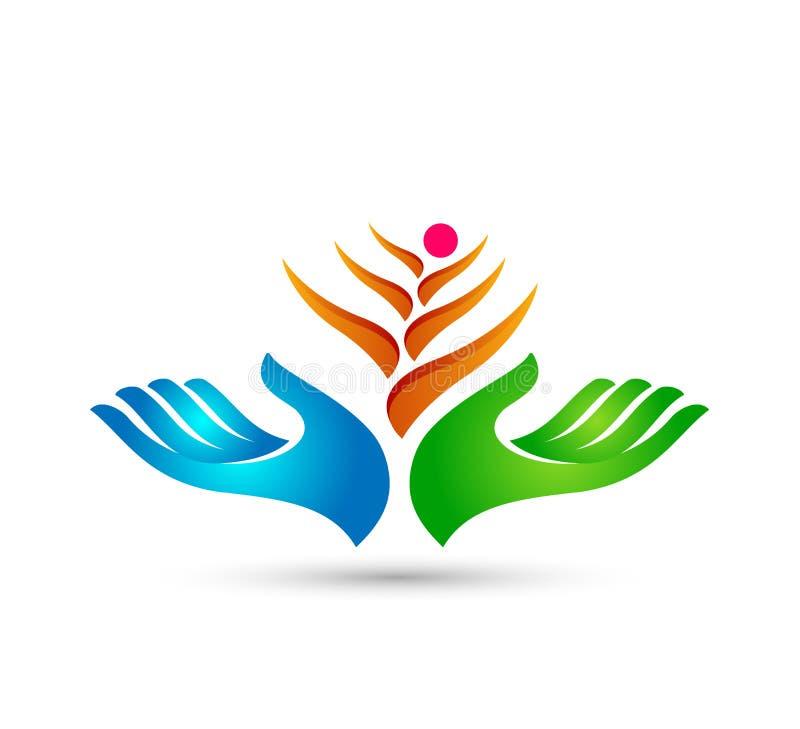 Η ευτυχής οικογένεια στο λογότυπο ένωσης εγχώριων σπιτιών δίνει στην οικογένεια ανθρώπων το πράσινο λογότυπο ελεύθερη απεικόνιση δικαιώματος