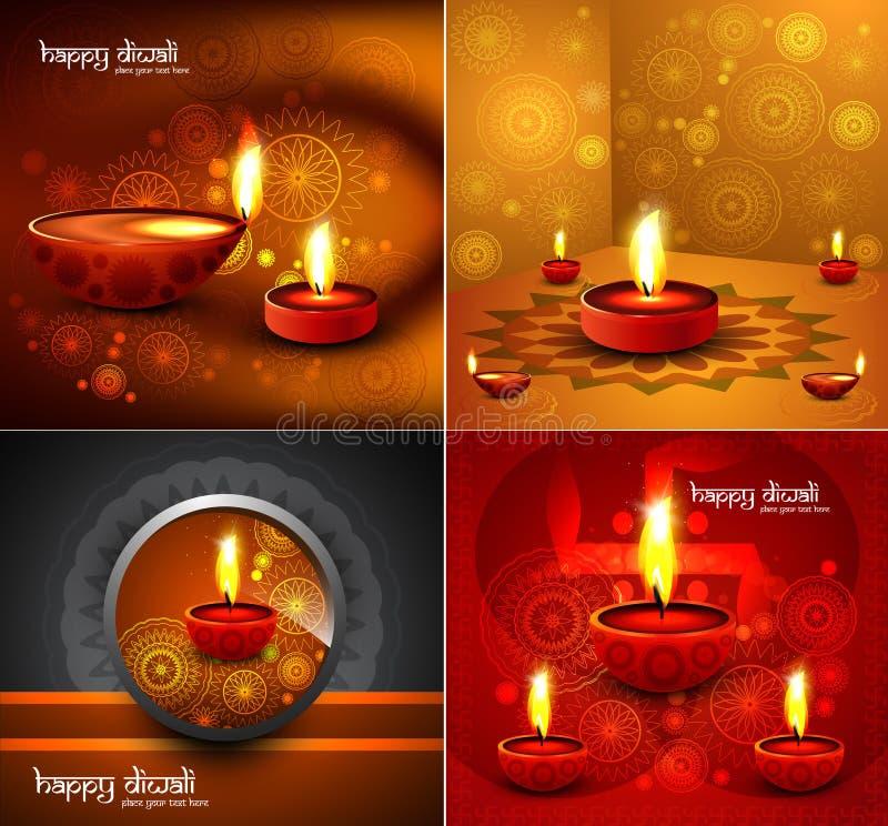Η ευτυχής παρουσίαση συλλογής τέσσερα diwali όμορφη ζωηρόχρωμη έτρεξε ελεύθερη απεικόνιση δικαιώματος
