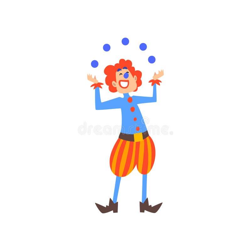 Η ευτυχής ταχυδακτυλουργία κλόουν με τις σφαίρες στο τσίρκο παρουσιάζει στα κινούμενα σχέδια διανυσματική απεικόνιση απεικόνιση αποθεμάτων