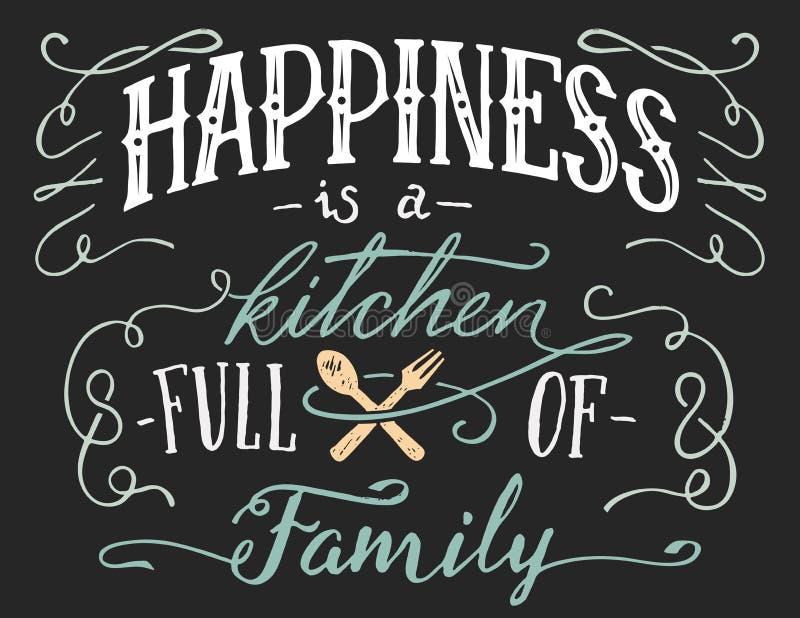 Η ευτυχία είναι ένα σύνολο κουζινών του οικογενειακού σημαδιού ελεύθερη απεικόνιση δικαιώματος