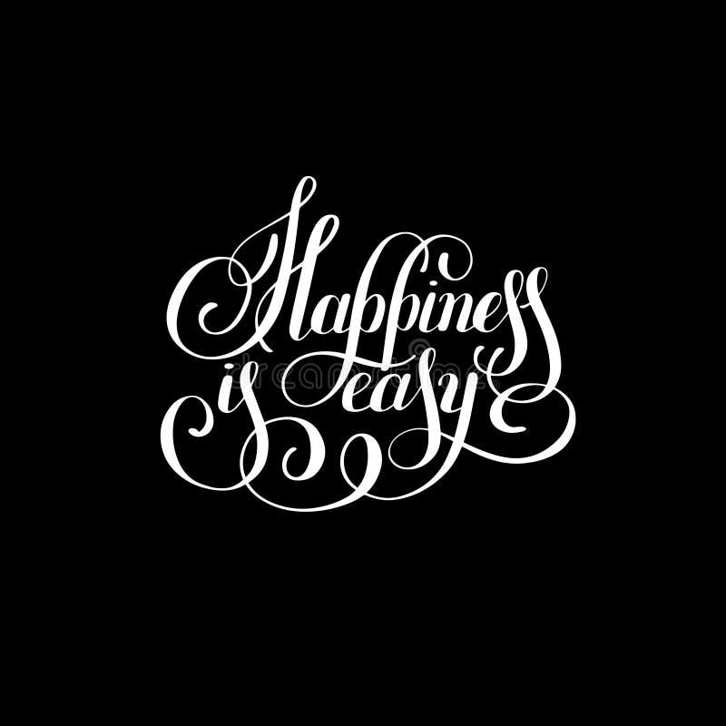 Η ευτυχία είναι εύκολο χέρι που γράφει τη θετική επιγραφή διανυσματική απεικόνιση