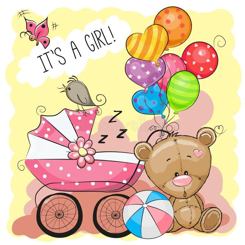Η ευχετήρια κάρτα αυτό είναι κορίτσι με τη μεταφορά μωρών διανυσματική απεικόνιση