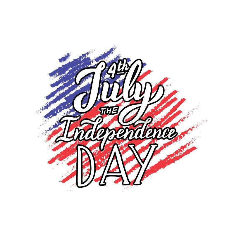 Η ευχετήρια κάρτα ημέρας της ανεξαρτησίας 4ος του γράφοντας κειμένου Ιουλίου Πρότυπο εθνικής εορτής για τον ιστοχώρο, κάρτα, σχέδ ελεύθερη απεικόνιση δικαιώματος