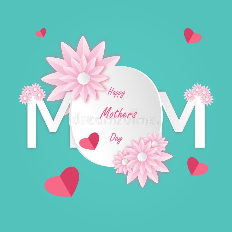 Η ευχετήρια κάρτα ημέρας της ευτυχούς μητέρας με το όμορφο άνθος στα ρόδινα λουλούδια και το έγγραφο κόβουν το άσπρο κείμενο Mom  απεικόνιση αποθεμάτων