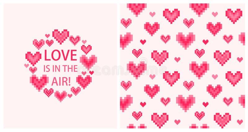 Η ευχετήρια κάρτα με την αγάπη κειμένων είναι στον αέρα, το αφηρημένο ρόδινο σύντομο χρονογράφημα καρδιών και την άνευ ραφής ταπε ελεύθερη απεικόνιση δικαιώματος
