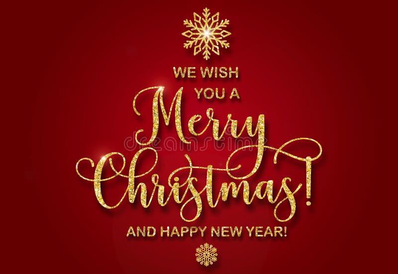 Η ευχετήρια κάρτα με χρυσό ακτινοβολεί κείμενο που σας ευχόμαστε τη Χαρούμενα Χριστούγεννα και μια καλή χρονιά διανυσματική απεικόνιση