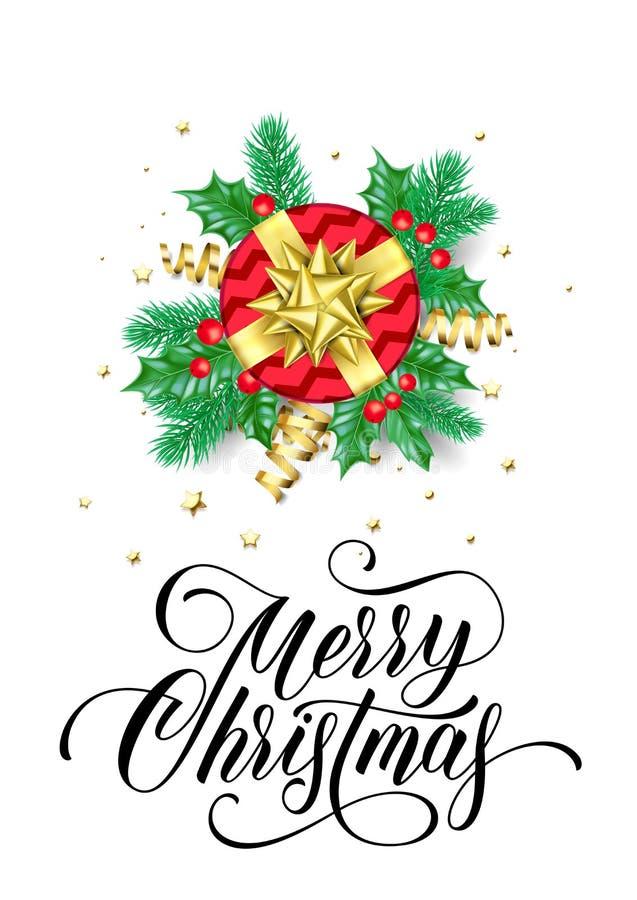Η ευχετήρια κάρτα Χαρούμενα Χριστούγεννας του νέου δώρου έτους και η χρυσή κορδέλλα διακοσμήσεων υποκύπτουν στο ακτινοβολώντας άσ απεικόνιση αποθεμάτων