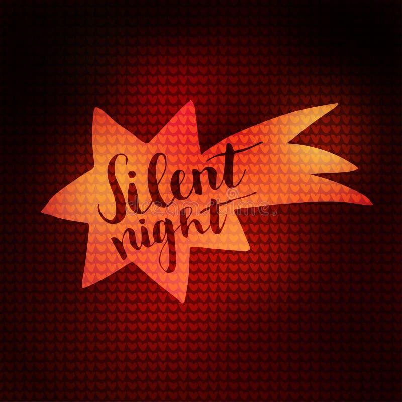 Η ευχετήρια κάρτα Χριστουγέννων, η πρόσκληση με το φωτισμένο doodle κομήτη και το χέρι έγραψαν το σιωπηλό κείμενο νύχτας Πλεκτή σ ελεύθερη απεικόνιση δικαιώματος