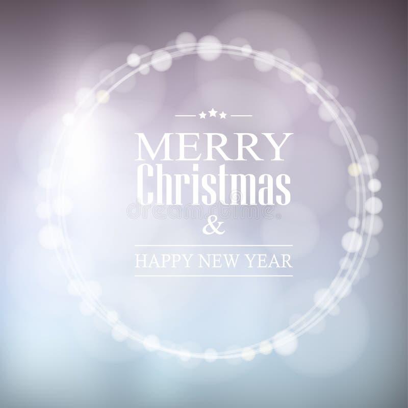 Η ευχετήρια κάρτα Χριστουγέννων με το bokeh ανάβει το στεφάνι, απεικόνιση αποθεμάτων