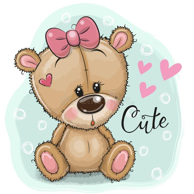 Η ευχετήρια κάρτα Teddy αφορά το κορίτσι ένα μπλε υπόβαθρο διανυσματική απεικόνιση